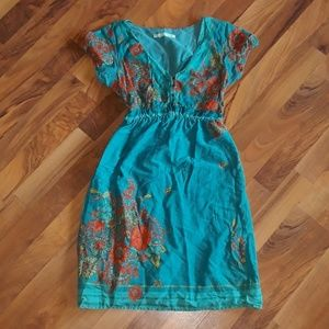 Maurices floral dress cap sleeve size XS Blue LT